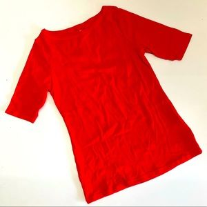 M&S Pure Cotton Half Sleeve Boat Neck Tee Red NWOT